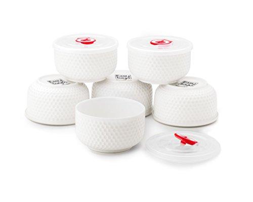 Ceramic Bowls (Set of 6 x 12oz Bowls) - Fun Design Assorted Sizes of China Bowl - Dishwasher & Microwave Safe Ceramic Bowl Set - Easy to Clean Kitchen Bowls Set - Mix Match Dishes Ceramic Houseware