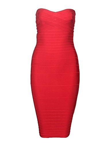 e58282a35 Meilun Women s Strapless Bandage Dress Cocktail Bodycon Dress ...