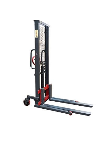 Pake Handling Tools Manual Stacker Hand Pump Lift Truck - Compact and Easy to Use Hydraulic Lift - 2200 lbs Capacity for Skid/Single Sided Pallet