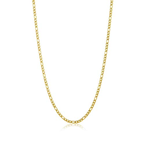 (The Bling Factory 3.7mm 14k Gold Plated Stainless Steel Figaro Chain w/Lobster Claw Clasp, 16 inches)
