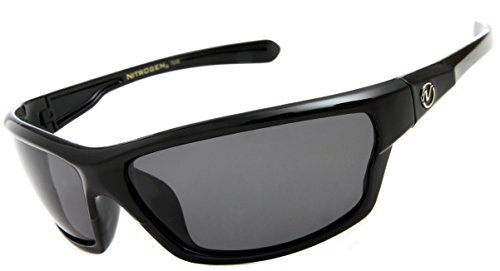 Nitrogen Men's Rectangular Sports Wrap 65mm Black Polarized - Mens Sunglasses Wrap