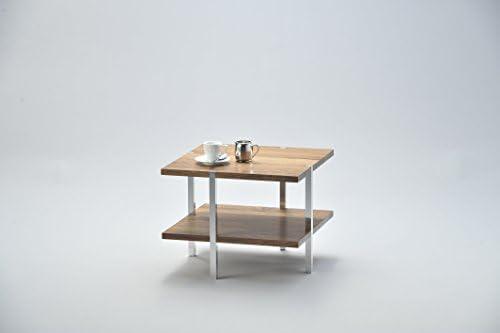 Leuk D-TEC U.F.O. N 43 tafel, hout, notenhout/aluminium, 45 x 45 x 35 cm  qqW4u0V
