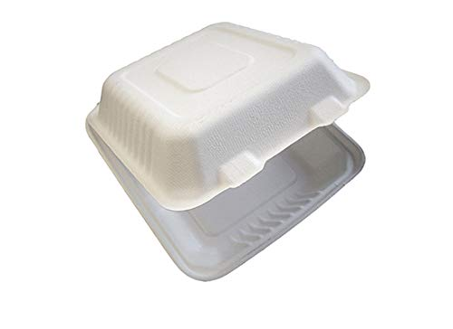 Primeware Bagasse Hinged Lid Container - Large 3-Section 9 x 3.19'' - 200/Cs (2 x 100)