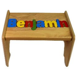 Puzzle Stool Primary (Personalized Wooden Puzzle Stools- Stool Color: Natural, Letter Color: Primary, 1-8 Letters)