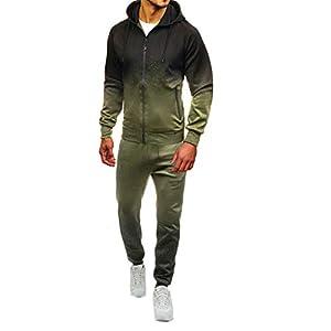 Dreamyth-Winter 2Pcs Men Tracksuit Sweatshirt Pants Sets Packwork Print Sweatshirt Top Pants Sets Sport Suit