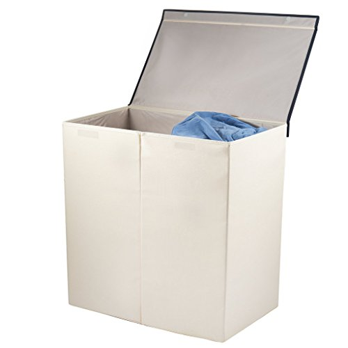 Sagnizer double laundry basket, Folding laundry hamper Ivory laundry sorter