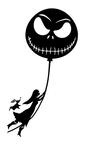 UR Impressions Blk Sally and Zero Floating on Jack Balloon Decal Vinyl Sticker Graphics Cars Trucks SUV Vans Walls Windows Laptop|Black|7.5 X 3.1 Inch|URI382-B ()