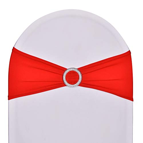 Pack of 10 Stretch Spandex Chair Sashes for Wedding Party Banquet Decoration Elastic Bulk Chair Cover with Buckle Engagement Event Birthday Graduation Meeting Red