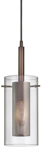 Dainolite 30961-CM-OBB Single Pendant-Clear Glass with Mesh Insert, Oil Brushed Bronze
