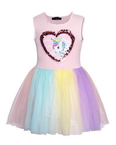 HenzWorld Unicorn Dress Costume Tutu Mesh Girls Princess Birthday Cosplay Party Sleeveless ()