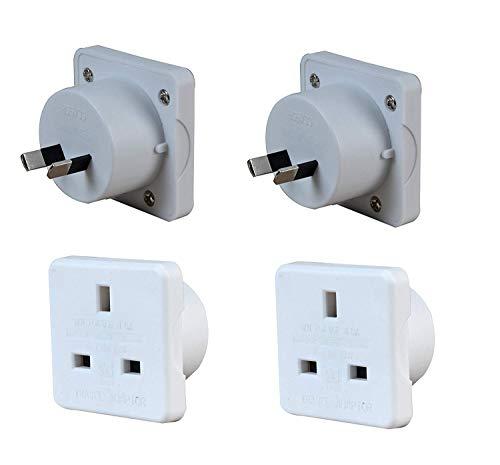 Sojon® 2x Pack of UK to Australia Australian New Zealand Tourist Travel Plug Power Mains Adaptor – White