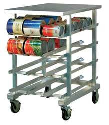 New Age 1225 Mobile Half-Size Can Storage Rack with Stainless Top Accommodates (72) #10 Cans