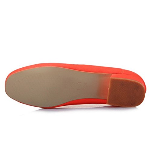 COOLCEPT Mujer Basic Cerrado Tacon Bajo Bombas Zapato Sin Cordones Zapatos Naranja