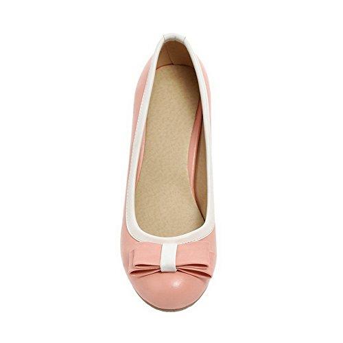 Balamasa Ladies Arcos De Dos Tonos Chunky Heels Urethane Bombas-zapatos De Color Rosa