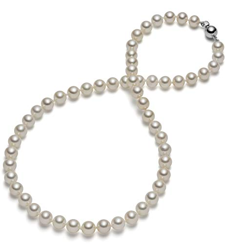 (HinsonGayle AAA Handpicked 7.5-8.0mm White Round Freshwater Cultured Pearl Necklace (Sterling Silver, 18