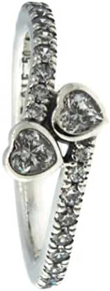 PANDORA Forever Hearts Ring, Clear CZ 191023CZ-52, 6 US
