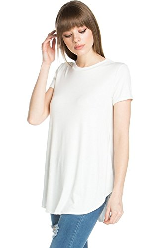 Azules YFH Women's Scoop Neck Short Sleeve Scallop Round Hem Tunic Top T-Shirts