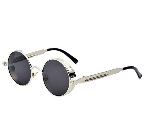 YANQIUYU Gothic John Lennon Steampunk Sunglasses for Men Women Metal Frame Small Round Lens (Silver Frame/Grey Lens, - John Lennon Amazon Glasses