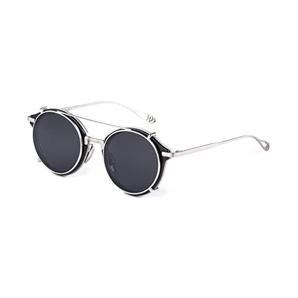 Dollger Clip On Sunglasses Steampunk Style and Round Mirrored Lens 3
