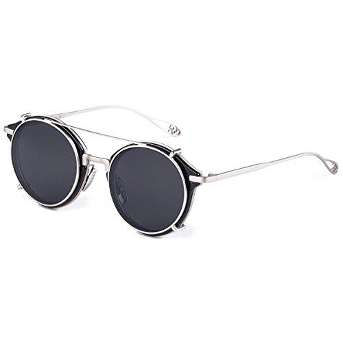 Dollger Clip On Double Lens Round Sunglasses Steampunk Mirrored - Prescription Budget Sunglasses
