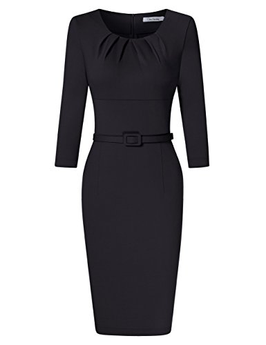 GlorySunshine Women 3/4 Sleeve Scoop Neck 1950s Vintage Pleated Bodycon Dress Business Work Pencil Dress Black (1950s Jacket Womens)