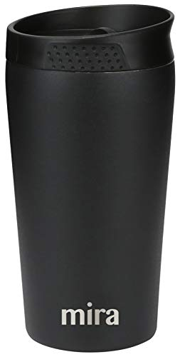 MIRA 12 oz Stainless Steel Insulated Coffee Travel Mug for Coffee, Tea | Spill Proof Press Lid Tumbler | Vacuum Insulated Coffee Thermos Cup Keeps Hot or Cold | Black