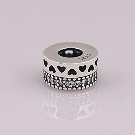 Calvas S925 Sterling Silver Hearts Spacer Charms Beads Fit Original Brand Charm Bracelets DIY Silver Jewelry Color: Rose Gold Color