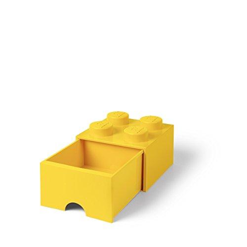 LEGO Brick Drawer, 4 Knobs, 1 Drawer, Stackable Storage Box, Bright Yellow