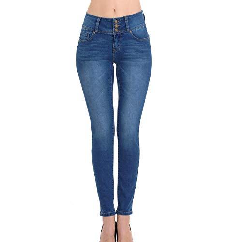 Wax Women's Juniors Body Flattering Mid Rise Skinny Jeans Medium Blue 9