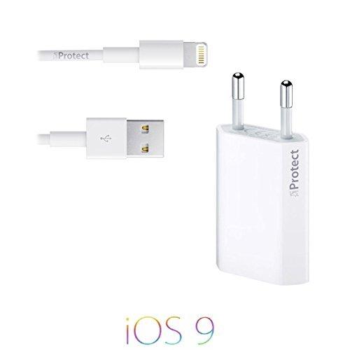 Original iProtect 2 in 1 Set mit USB Ladekabel / Datenkabel und Netzteil für Apple iPhone 5 5s 5c, iPhone 6, iPhone 6s, 6 Plus, iPhone 7, iPhone 7 Plus, iPod Touch 5G, iPad mini, iPad mini 2, iPad 4, iPad Air, iPad Air 2, iPod Nano 7G in weiss