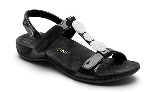 Vionic Women's Rest Farra Backstrap Sandal - Ladies Adjustable Sandals with Concealed Orthotic Support Black Patent 7M