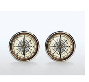 (Vintage Compass Cufflinks Silver Plated Old Compass Cuff Links Men and Women Accessories Antique Brown (Not an Actual Compass, Only Picture))