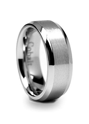 8MM High Polish Matte Finish Men's Cobalt Chrome Ring Wedding Band Size 10