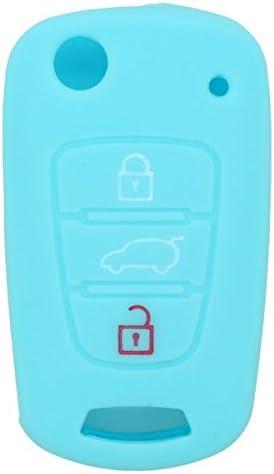 SEGADEN Silicone Cover Protector Case Skin Jacket Compatible with HYUNDAI KIA 3 Button Flip Remote Key Fob CV9100 Rose