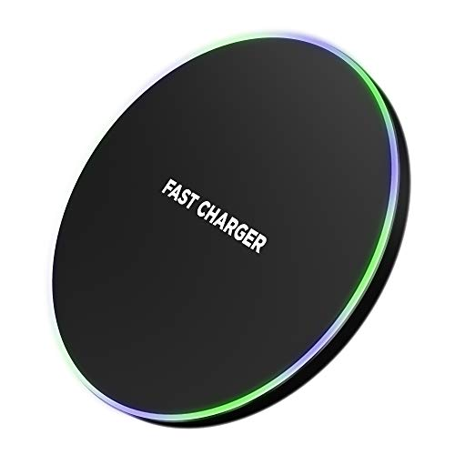 Wireless Charger Fast QI Certified - Compatible with Samsung Galaxy S10 S9 S8 and iPhone Xs Max XR XS X 8 Plus Models - No AC Adapter