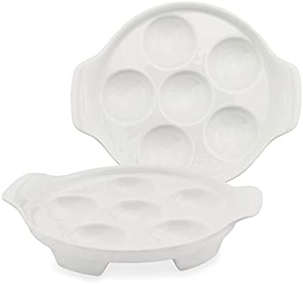 Amazon Com Cornucopia White Ceramic Escargot Plates 2 Pack 6 5 Inch Footed Dishes Oven Safe Kitchen Dining
