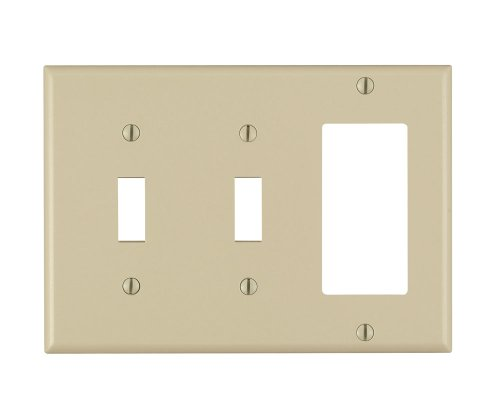 Ivory Wall Wall Plate - Leviton Available 80421-I 3-Gang 2-Toggle 1-Decora/GFCI Combination Wallplate, Standard Size, Thermoset, Device Mount, Ivory, 1-Pack