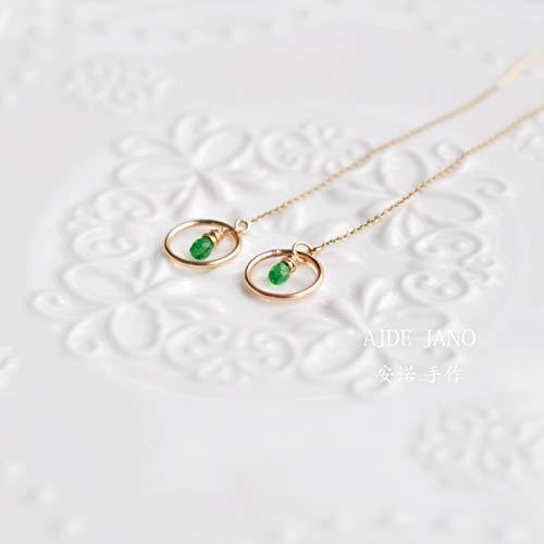 (Tsavorite Green Garnet Drop Earring Wrie Wrap Thread Teardrop Earring Tsavorite Small Hoop Earring Gold Earring Birthday Gift for Her)