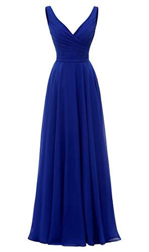 AlfaBridal Long Bridesmaid Dresses Double V Neck Chiffon Wedding Evening Gown Royal Blue US2