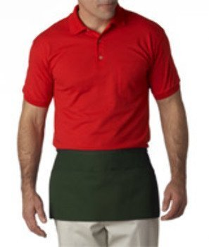 UltraClub Three Pocket Waist Twill Apron, One Size, Forest Green ()
