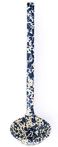 Enamelware Ladle, 12 inch, Navy/Cream Splatter