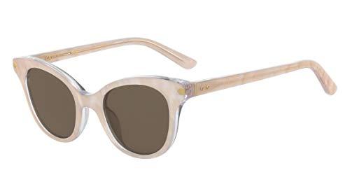 Óculos Ck Ck18500S 120 Nude Perolado Lente Marrom Flash Tam 48
