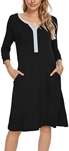 Women's Night Shirts Nightgowns V-Neck 3/4 Sleeve Sleepshirts Night Sleepwear Nightshirt