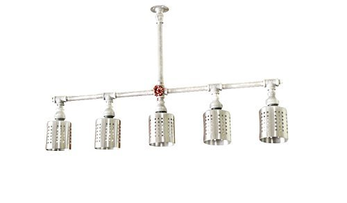 Amazoncom Galvanized Pipe Industrial Lighting Chandelier W - Silver kitchen light fixtures