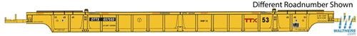 5077 Stripe - NSC STAND-ALONE 53' WELL CAR - READY TO RUN -- TTX 657756 (2010S MAROON LOGO, YELLOW CONSPICUITY STRIPES)