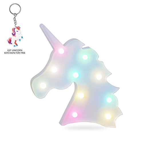 Unicorn LED Night Light Decorative Marquee Signs Light-Wall Decoration for Living Room,Bedroom,Home, Christmas,Party as Kids Gift (Battery Operated) (Colorful Unicorn Head)