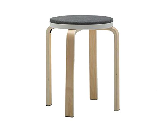 HCJJBD JCRNJSB Bar Stool, Bar Solid Wood Stool Rotate Bentwood Gray High Stool Cafe Counter High Back Woody Creative Tall Front Desk Kitchen Chair European High 46cm Can be rotated, ()
