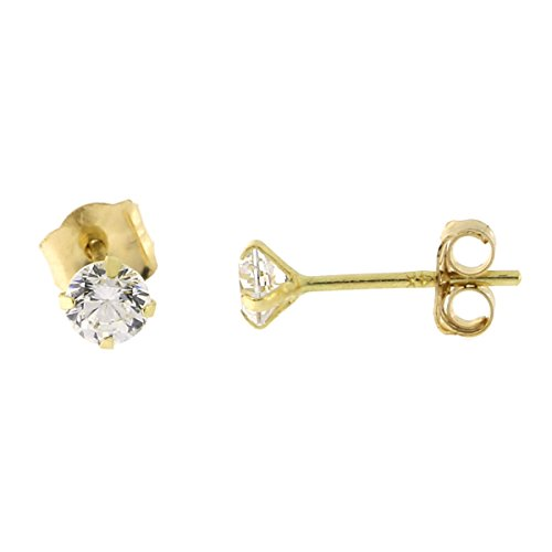 14k Yellow Gold Cubic Zirconia Stud Earrings, 3mm (0.22ctw)