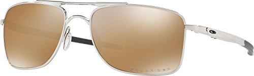 Oakley Men's Gauge 8 Polarized Iridium Rectangular Sunglasses, Polished Chrome, 62 - Tungsten Iridium Polarized