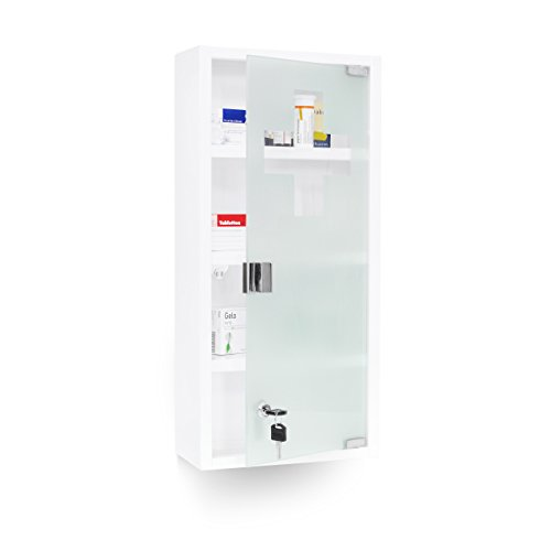 Relaxdays Medizinschrank EMERGENCY XXL Medikamentenschrank Apothekerschrank fürs Bad HxBxT 57 x 27 x 12 cm Edelstahl und Glas weiß mit magnetischer Glas-Tür 4 Ablagen für Medikamente & Verbandszeug